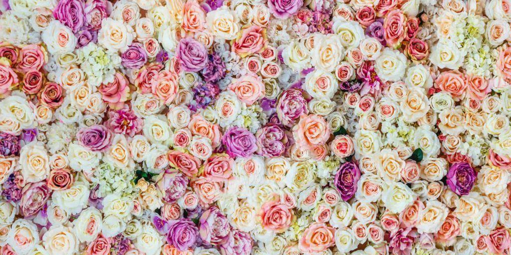 Purple Flower Wall at Wedding