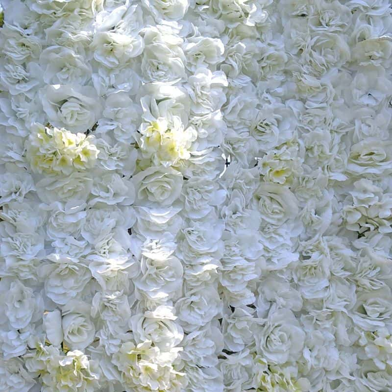silk white flower wall hire close up