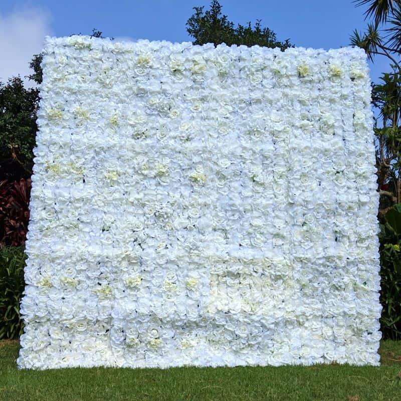 silk white flower wall hire sydney